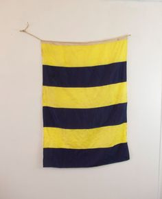 Vintage Navy Blue and Yellow Striped by ThisCharmingManCave, $80.00