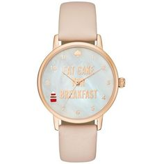 Kate Spade New York Taupe Womens Metro Eat Cake For Breakfast Vachetta... (1 600 SEK) ❤ liked on Polyvore featuring jewelry, watches, taupe, kate spade jewelry, sparkle jewelry, kate spade and kate spade watches