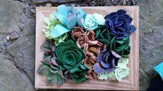 Succulent Garden, Faux Succulent Arrangement, Felt Succulents, Rock Garden  #Handmade