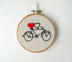 "valentines day gift,bicycle couples gift,heart embroidery hoop wall art,4"" wedding gift, valentine's gift under 25. , via Etsy."