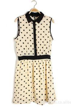 Vintage Polka Dot Chiffon Shirt Dress