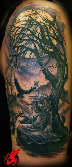 23 Gothic Girl and Tree Tattoo by Jackie Rabbit