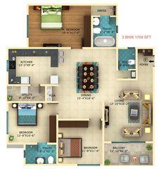 3 bhk 1709 sqft floor plan