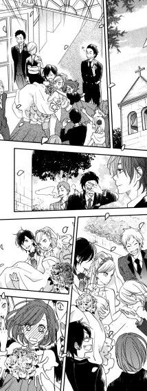 """Haru and Shizuku's wedding. This is just beautiful, saying that Micchan is crying 'cuse his cousin almost a little brother, Haru got merried, the face of Yuuzan a face full of pride is just like """"you're doing it well..."""" and Natsume face when she catch the bouquet she is so embarrassed and Sasayan is shocked mean while Iyo in the back is probably jealous.... idk but the most beautiful is where you can see haru's face of happiness and Shizuku surprised about Yamaken kiss. This is perfect so…"""