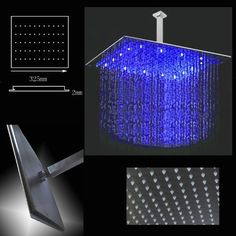 12 Inch Ceiling Mount Square Rainfall LED Shower Head