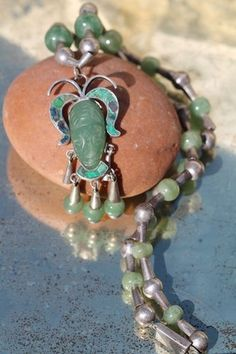 Vintage Mexican Taxco 925 Sterling Silver Green Jade Bead Masquette Necklace | eBay