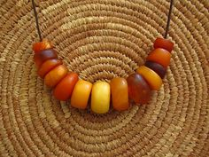 Amazing Natural Antique African Amber Beads by lostcitiesbeads, $273.00