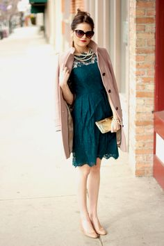 2.12 classy + fabulous (J Crew coat + Milly lace dress + J Crew wedges + Hobo clutch + Urban Outfitters sunnies + J Crew, F21 jewelry)