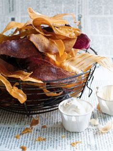 sweet potato and yam chips with hot mustard dipping sauce- looks like it could be gluten free!