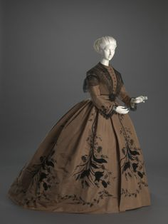 Date: ca. 1866  Place of origin: prob. United States  Medium: Silk, linen, cotton, leather, metal.