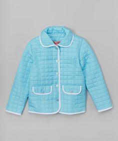 Blue Double-Pocket Jacket - Girls