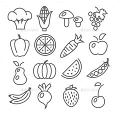 Buy Fruits And Vegetables Line Icons by ihorzigor on GraphicRiver. Fruits and Vegetables Line Icons on white. Editable EPS and Render in JPG format. Mini Drawings, Doodle Drawings, Doodle Art, Easy Drawings, Bullet Journal Art, Bullet Journal Ideas Pages, Bullet Journal Inspiration, Painting For Kids, Art For Kids