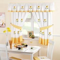 Yellow Kitchen Curtains – Bought curtains are often common and are available in limited colors. Make your kitchen curtains with […] Yellow Kitchen Curtains, Kitchen Window Curtains, White Curtains, Drapes Curtains, Bedroom Curtains, Curtain Panels, Retro Kitchen Decor, Kitchen Themes, Cheap Kitchen