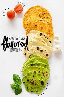 Easy Homemade Flavored Tortillas (+ Foolproof Formula for ANY Flavor) Make Your Own Flavored Tortillas with this quick and healthy recipe! Homemade wraps and sandwich have never been so tasty. Recipes With Flour Tortillas, Homemade Flour Tortillas, Mexican Food Recipes, Cooking Recipes, Vegetarian Recipes, Ethnic Recipes, Mexican Desserts, Cooking Tips, Freezer Recipes