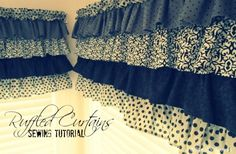 How to Sew Ruffled Kitchen Curtains ~ I will attempt these in white to go with my ruffled shower curtains :)