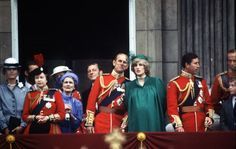 "Despite the emergence of dare-to-bare miniskirts and leggings in the 1980s, most moms-to-be continued to dress their baby bumps modestly. Here a pregnant Princess Diana of Wales joined the royal family (including the Queen, Prince Philip, Princess Alexandra of Kent, and Angus Ogilvy) on the balcony of Buckingham Palace for the ""Trooping of the Colour"" ceremony in the summer of 1982. Princess Diana was an emulated style icon in the 1980s"