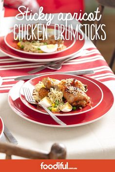 Serves 6 Lush apricot glaze, spread over chicken drummies and baked until sticky and delicious. Hoisin Chicken, Chicken Drumsticks, Apricot Chicken, Moroccan Chicken, Honey Mustard, Dinner Tonight, Finger Foods, Lush, Glaze