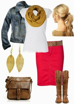 Denim jacket, white tee, red skirt, brown accessories