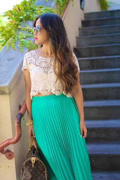 Long pleated skirt and lace crop top