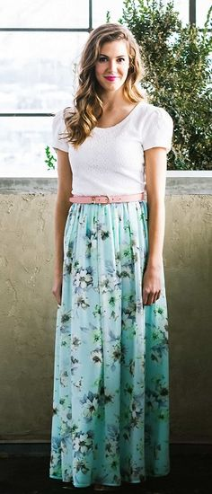 Chiffon Maxi Skirt [MSF1500] - $49.99 : Mikarose Boutique. White blouse, pink belt and floral chiffon skirt.