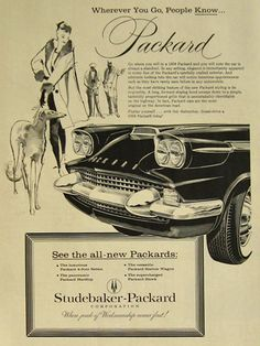 1958 Packard Ad ~ Woman with Borzoi Dog