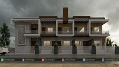 Panash Design Studio - Take a look of our best design list of Commercial Elevation Projects. Indian House Exterior Design, Modern Exterior House Designs, Modern House Plans, Modern House Design, Row House Design, Bungalow House Design, Building Elevation, House Elevation, 10 Marla House Plan