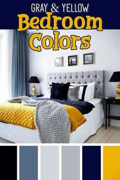 Bedroom accent colors for a gray and yellow bedroom - gray yellow blue and navy blue bedroom decorating ideas- beautiful master suite bedroom colors dorm room colors or a teen bedroom color scheme Really brightens up a small apartment bedroom too Navy Yellow Bedrooms, Yellow And Gray Bedding, Yellow Master Bedroom, Teen Bedroom Colors, Dorm Room Colors, Grey Bedroom Decor, Bedroom Color Schemes, Grey Bedding, Blue Rooms
