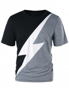 Color Block Lightning Print Graphic T-shirt Cheap T Shirts, Casual T Shirts, Cool T Shirts, Men's Shirts, African Clothing For Men, Mens Clothing Styles, New T Shirt Design, Shirt Designs, T Shirt Vest