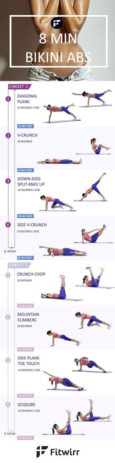 Belly Fat Workout - How to Lose Belly Fat Quick with 8 Minute Bikini Ab Workout Like what you see?… by hillary Do This One Unusual Trick Before Work To Melt Away Pounds of Belly Fat Sport Fitness, Fitness Workouts, Body Fitness, At Home Workouts, Fitness Motivation, Health Fitness, Workout Abs, Fitness Shirts, Exercise Motivation