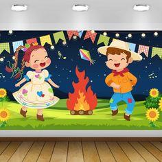 PAINÉL FESTA JUNINA CRIANÇAS - 2X1M - ARQUIVO DIGITAL Designer Digital, Doodles, Diy Crafts, Character, Illustrations, Bff Pics, Classroom, Paintings, Illustration