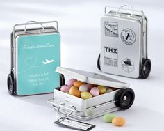 Unique mini suitcase wedding favors! Ideal for a travel themed wedding and can be personalised!