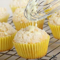 A Tasty recipe for lemon crumb muffins with a delicious glaze topping