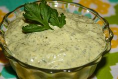 WONDERFUL Cilantro dipping sauce  1 cup fresh cilantro leaves  1 cup mayonnaise  1 jalapeno pepper, seeded  1 garlic clove, peeled  1 Tbsp white vinegar  1 tsp sugar  1 Tbsp Ranch dressing mix  Dash Cayenne Pepper  Juice of one medium lime .     If you like cilantro, you will LOVE this sauce.