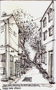 Norris Road @ Little India, Singapore by Paul Wang Landscape Sketch, Landscape Drawings, Architecture Drawings, Urban Landscape, Art Drawings, Building Drawing, Building Sketch, Tree Sketches, Urban Sketchers