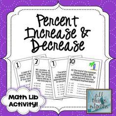 Math Lib Activity! - Percent Increase & Decrease {Discount, Mark-Up, Tax}