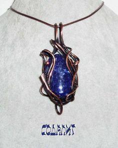 Кулон с содалитом выполнен из патинированной меди в технике wire wrap. Sodalite pendant made of patinated copper in wire wrap technique. Wire Wrapped Jewelry, Natural Stones, Women Jewelry, Enamel, Pendant Necklace, Lady, Accessories, Fashion, Moda