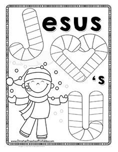 J is for Jesus Candy Cane Bible Lesson for Kids. Free printbles, coloring page and candy cane minibook.great for take home treats for Sunday School