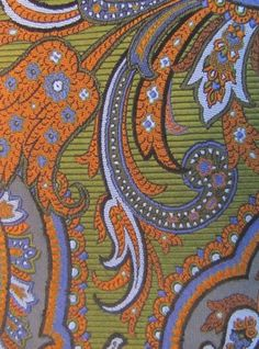 ROBERT TALBOTT Best of Class Green Orange Blue Paisley Woven Jacquard Silk Tie #RobertTalbott #Tie
