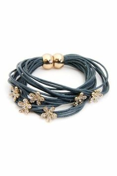 Flower Charm & Grey String Bracelet