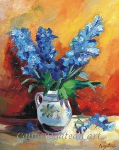 Blue flowers, oil painting on canvas Oil Painting On Canvas, Blue Flowers, Art Gallery, Artist, Image, Art Museum, Artists