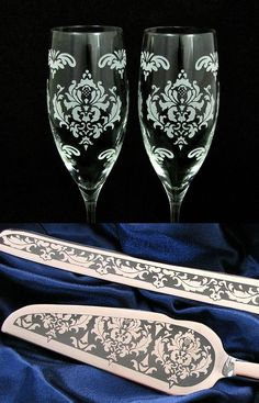 Personalized Damask Champagne Flutes & Cake Server and Knife - available at www.BradGoodellWeddings.com