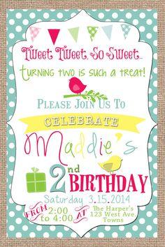 Tweet Tweet Little Birdie Birthday Invitation