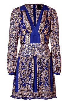 Electric blue pleated V neck dress by ANNA SUI