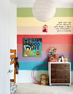 Interior design kids bedroom classy kids room colorful rainbow wall fresh k Modern Kids Bedroom, Childrens Bedroom Furniture, Girls Bedroom, Kid Bedrooms, Bedroom Decor, Wall Decor, Rainbow Room, Rainbow Wall, Striped Walls