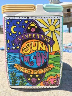 live by the sun love by the moon cooler side Trippy Drawings, Art Drawings, Cooler Painting, Sorority Crafts, Hippie Art, Posca, Frat Coolers, Psychedelic Art, Doodle Art