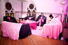For the sixth annual Pink Bedroom Party, Jeanne Lottie moved the fund-raiser to the Berkeley Church and changed its format. Draped Fabric, Pink Fabric, Plush, Lounge, Bedroom, Party, Airport Lounge, Lounges, Bedrooms