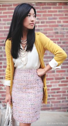 End Of Summer: Pink Tweed + Mustard (& Fitting Room Reviews) by Extra Petite