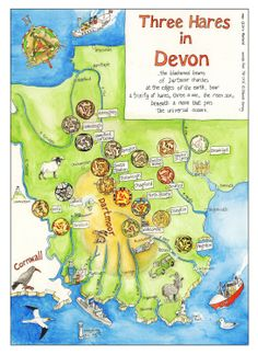 Three Hares Map of Devon by Dru Marland on Etsy