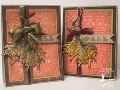Adapted supplies on hand to make a similar card that could be produced in multiples - The card on the left is the  original.  From  Paper, Ribbon, and Thread: Happy Birthday To Me!!! And the MFP Fall card swap.  (November 2012)