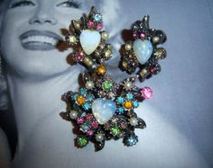 Coro Opalescent Brooch and Earring Demi by YesterdayOnceAgain, $51.00